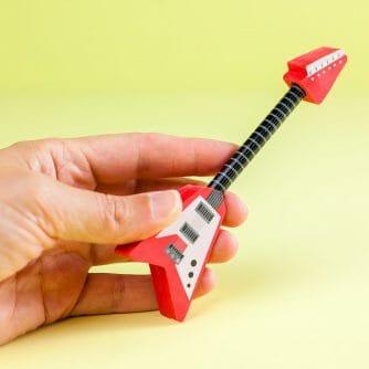 Gitaar potlood en gum (assorti) rood