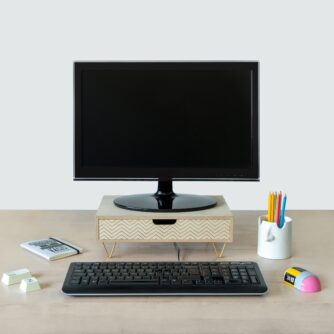 Monitor standaard hout met computer