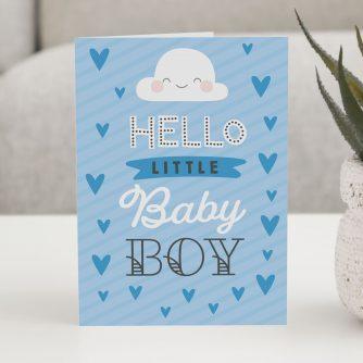 Wenskaart Hello little baby boy