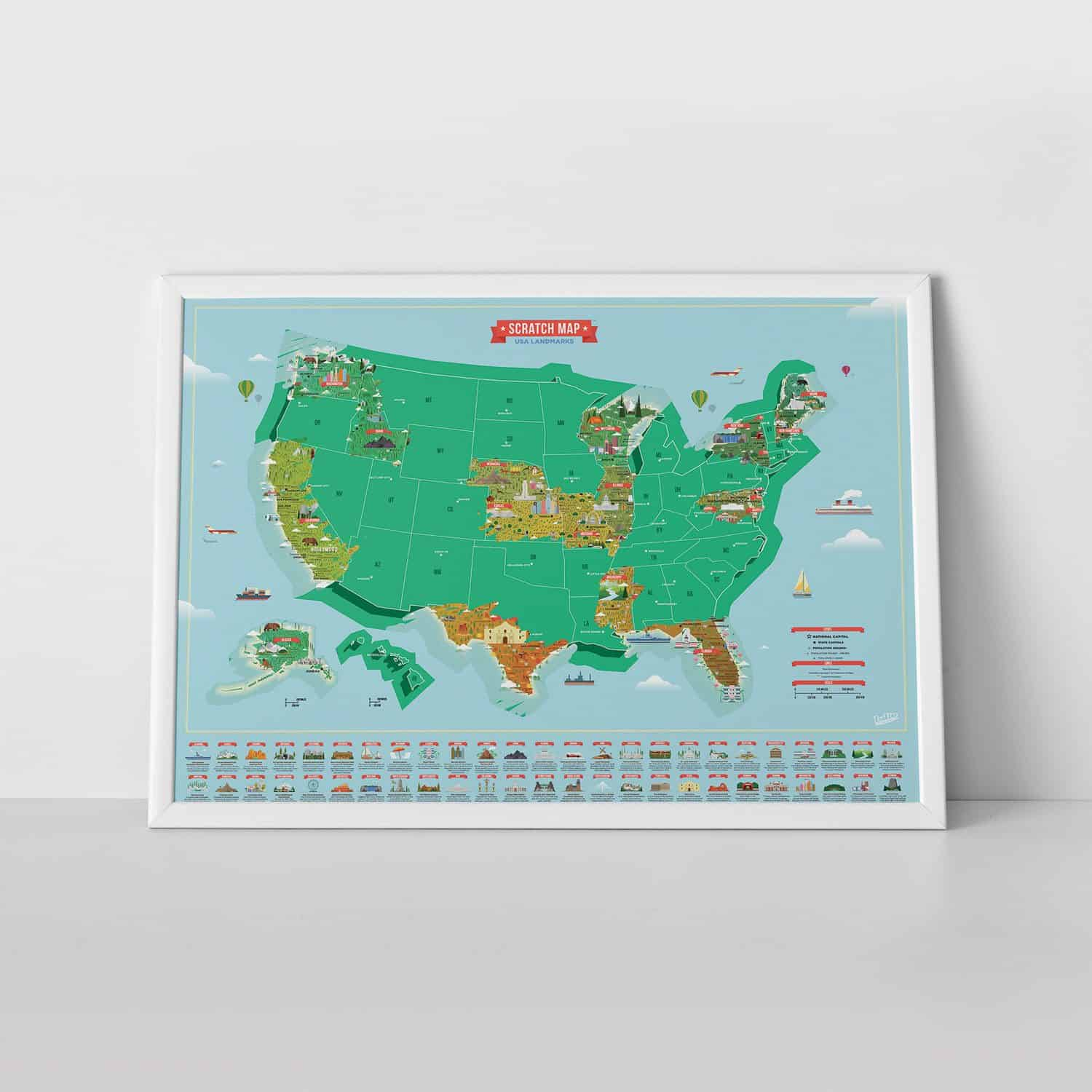 Scratch Map USA Landmarks Kraswereldkaart - Luckies