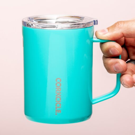 Koffiemok thermosbeker - Glanzend turquoise