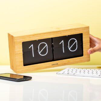 Boxed Flip Clock bamboe