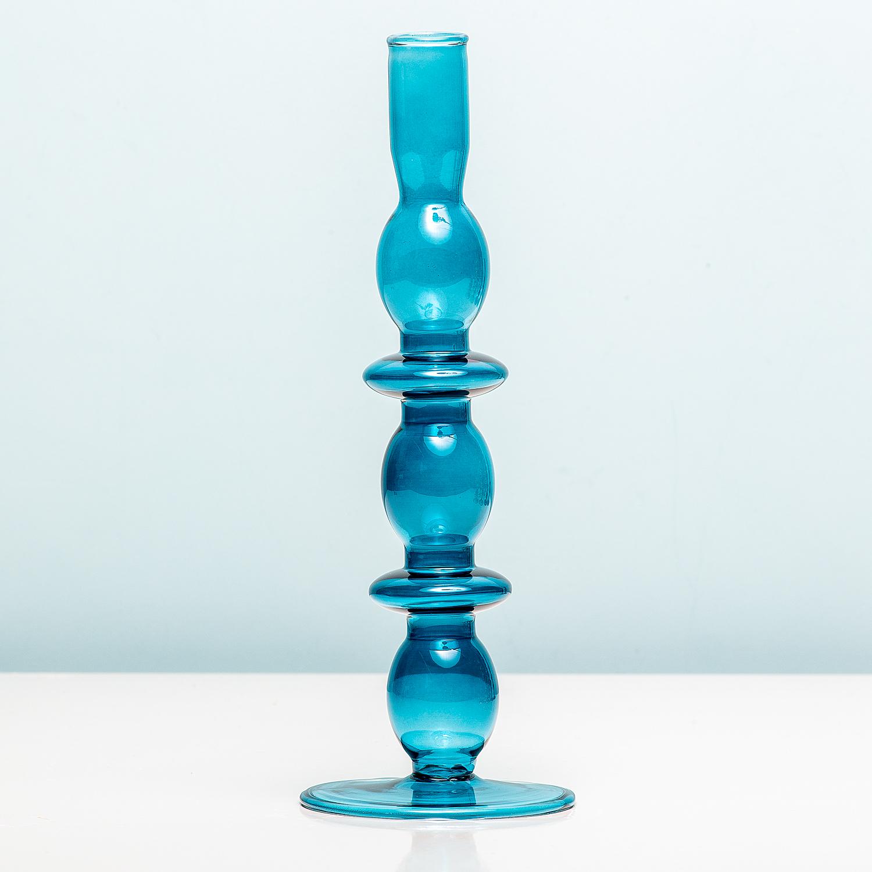 Glass Art Rings Kandelaar - Large/donkerblauw