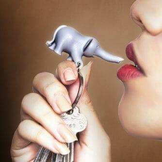 Olifant sleutelhouder grijs