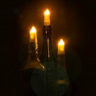 Candle bottle light drie stuks