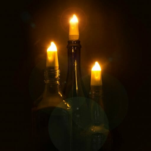 Candle bottle light drie stuks