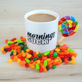 Mornings Suck beker snoepjes