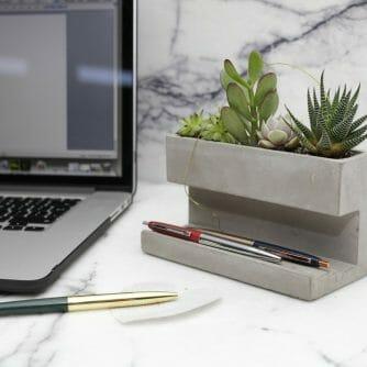 Concrete Desktop Planter grijs