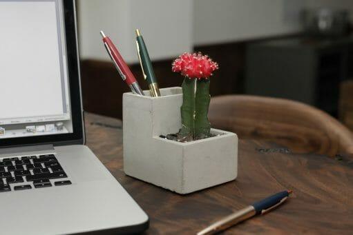 Concrete Desktop Planter laptop
