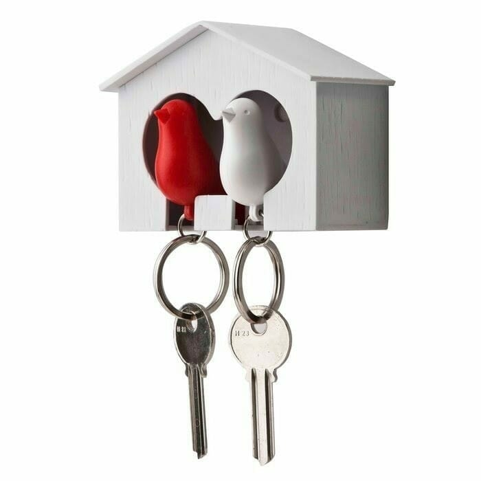 Sparrow Keyring The Couple - Witte En Rode Vogel