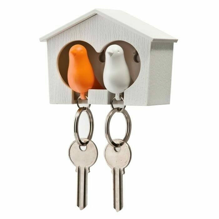 Sparrow Keyring The Couple - Witte En Oranje Vogel - Qualy Design