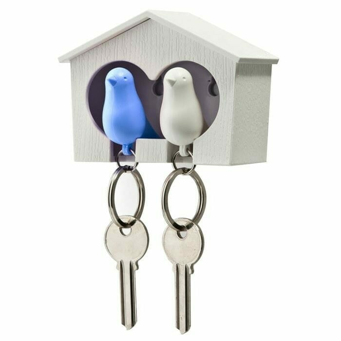 Sparrow Keyring The Couple - Witte En Blauwe Vogel