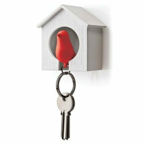 Qualy Sparrow sleutelhanger - Wit/rood