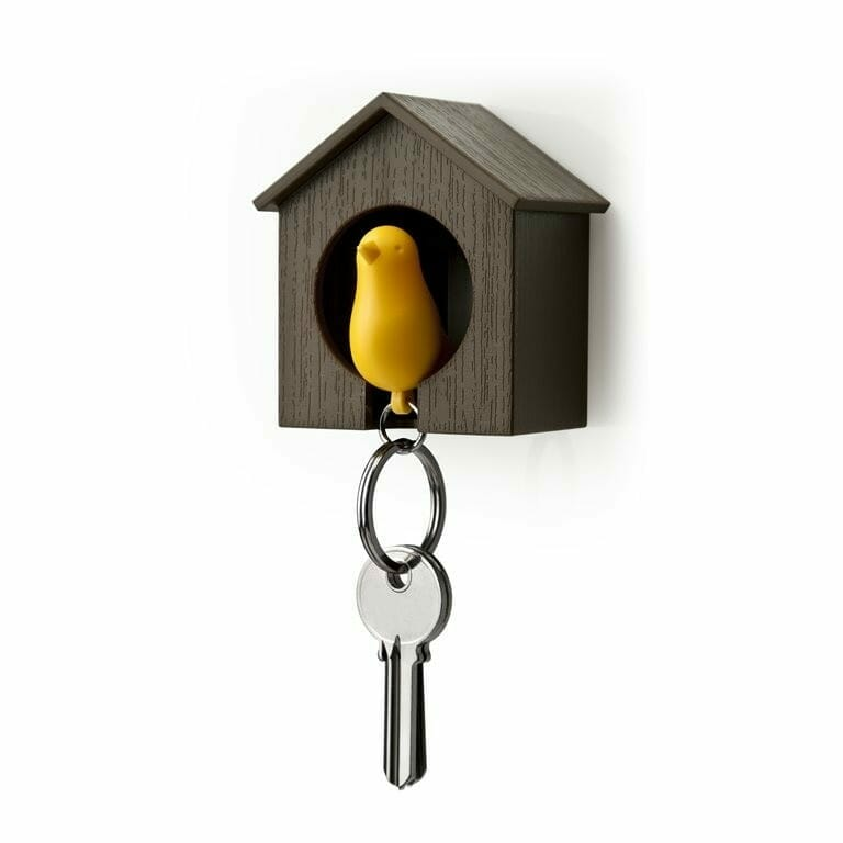 Sparrow Keyring - Bruin Huisje En Gele Vogel - Qualy Design