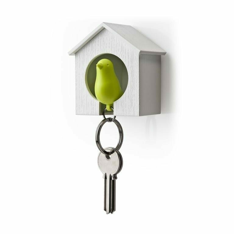 Sparrow Keyring - Wit Huisje En Groene Vogel