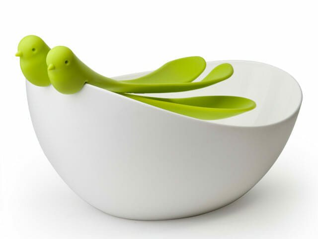 Sparrow Salad Bowl - White-Green - Qualy Design